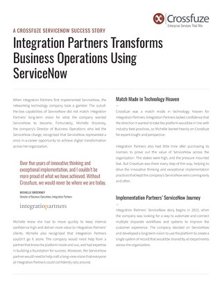 Integration Partners: 5-Year ServiceNow Success Story