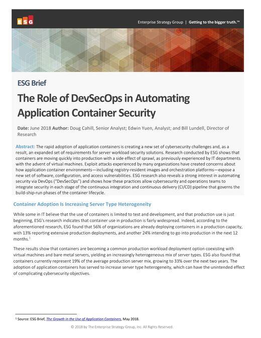 ESG Brief - Container Security
