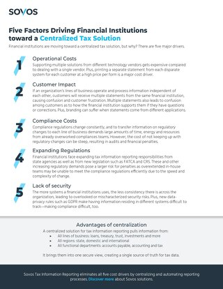 Infographic: Five Factors Driving Financial Institutions toward a Centralized Tax Solution