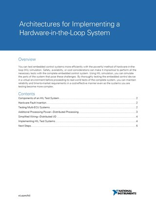 Architectures for Implementing a Hardware-in-the-Loop System