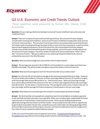 Q3 2018 U.S. Economic and Credit Trends Outlook - FAQ