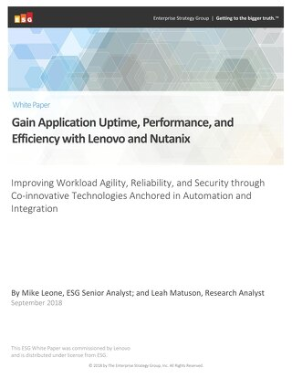 ESG - Gain Application Uptime, Performance, and Efficiency with Lenovo and Nutanix