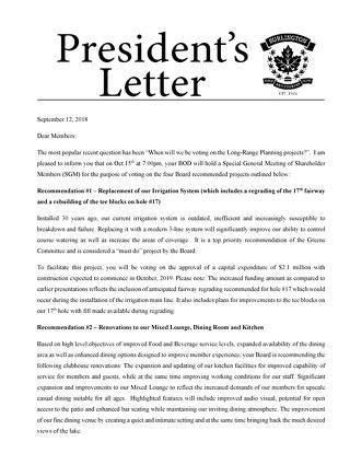 President's Letter ~ September 2018
