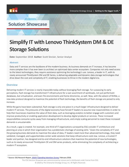 ESG - Simplify IT with Lenovo ThinkSystem DM & DE Storage Solutions