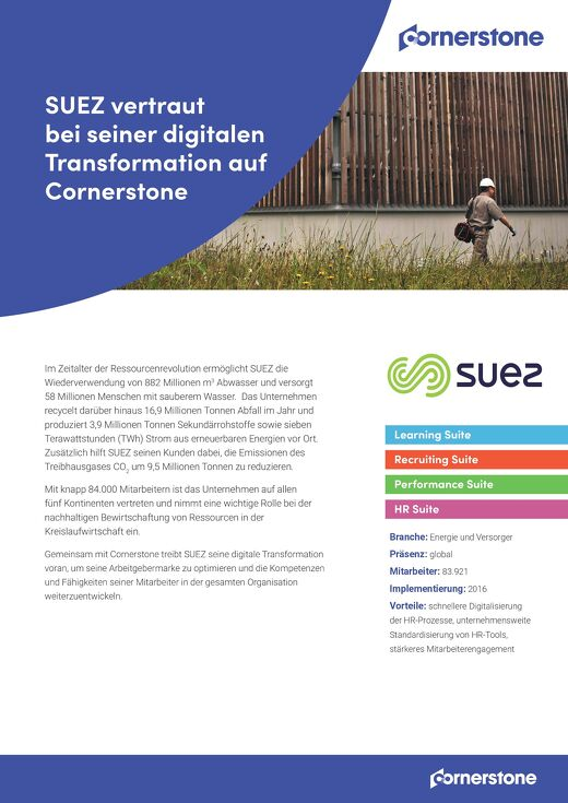 Fallstudie SUEZ - Vertraut bei seiner digitalen Transformation auf Cornerstone