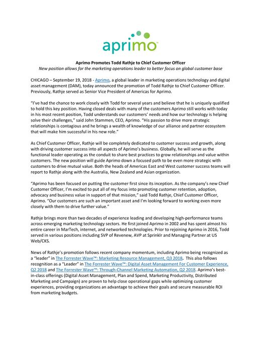 Aprimo Promotes Todd Rathje to Chief Customer Officer