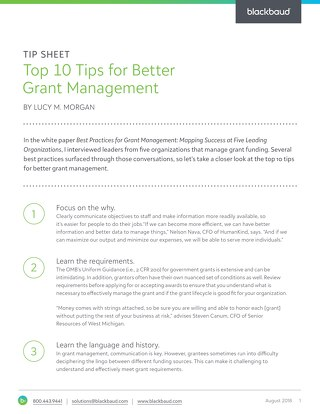 Tip Sheet: Top 10 Tips for Better Grant Management
