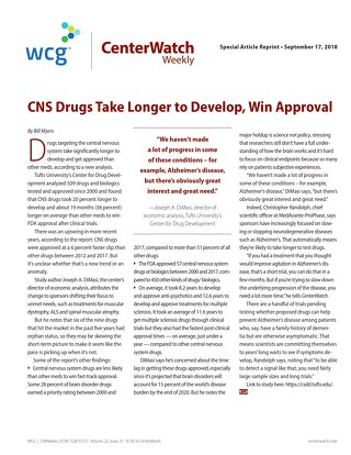CNS Drugs Take Longer to Develop, Win Approval