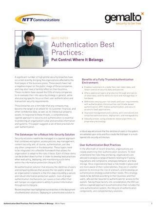 Authentication Best Practices - White Paper