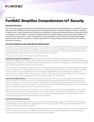 FortiNAC Simplifies and Provides Comprehensive Network Access for IoT
