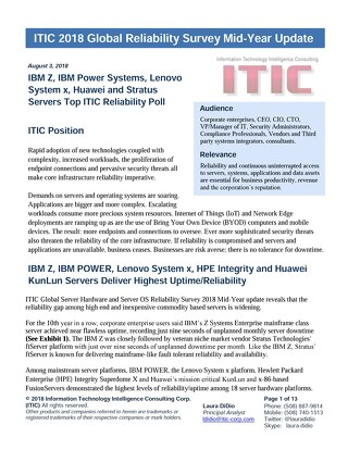 ITIC 2018 Global Reliability Survey Mid-Year Update