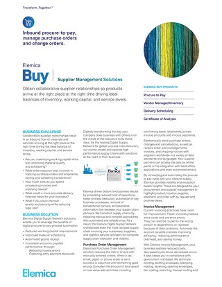 Elemica Buy: Supplier Management Solutions