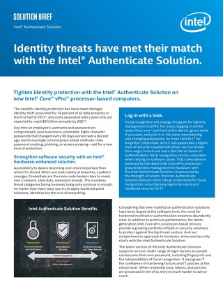 Identity Threats Have Met Their Match With the Intel Authenticate Solution