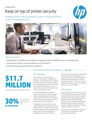 Keep on top of print security with HP Printers