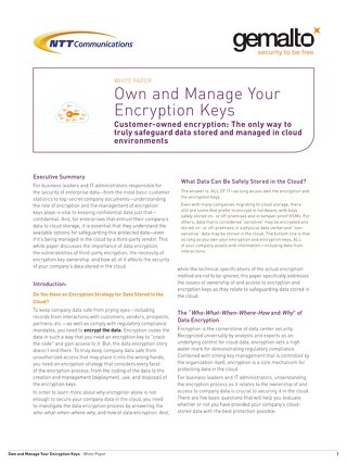 Own and manage your encryption keys white paper