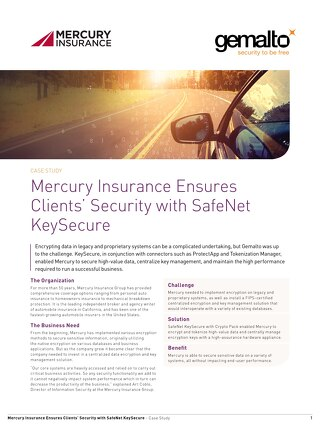 Mercury insurance with safenet keysecure Case Study
