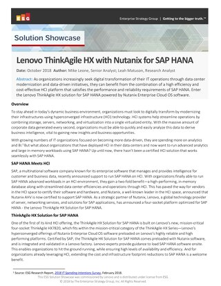 ESG Solution Showcase: Lenovo ThinkAgile HX with Nutanix for SAP HANA