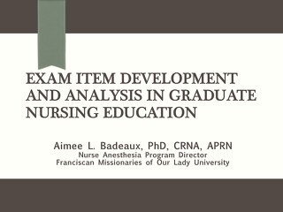 Exam Item Development and Analysis in Graduate Nursing Education