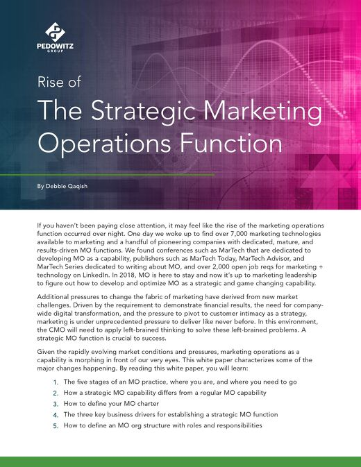 Rise of the Strategic Marketing Operations Function