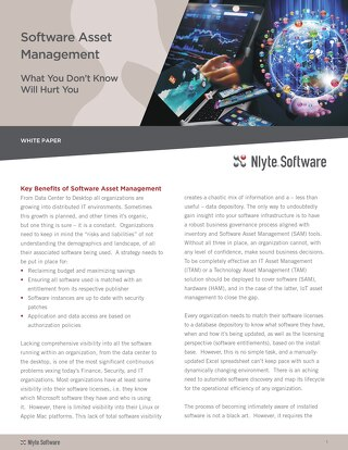 Software Asset Management White Paper