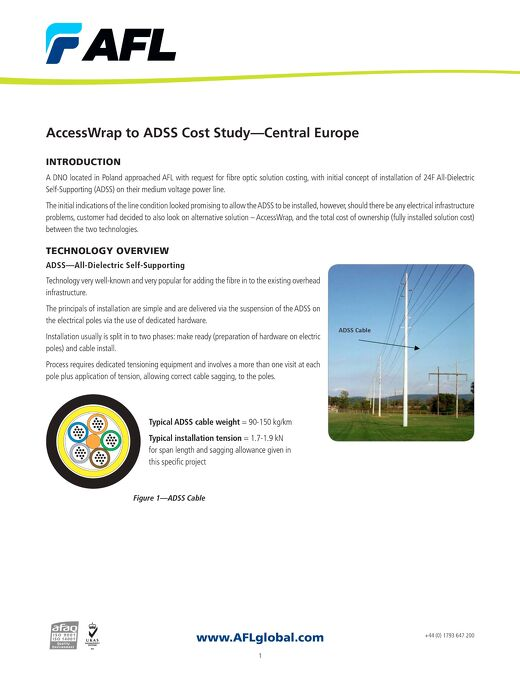 AccessWrap ADSS Cost Study -- Central-Europe