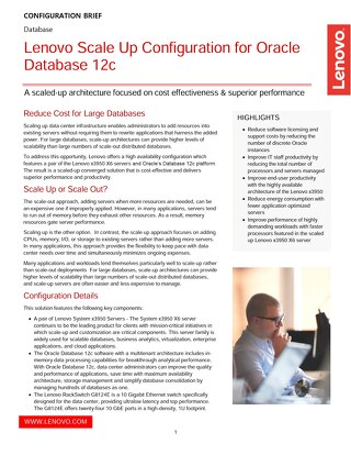 Lenovo Scale Up Configuration for Oracle Database 12c