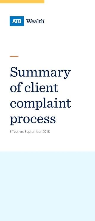 Complaint Handling Summary