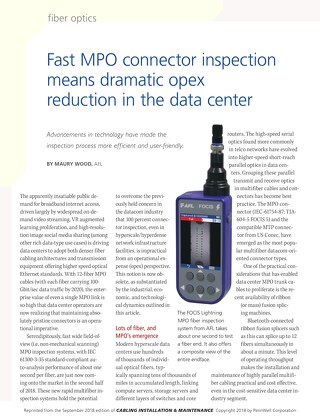 Fast MPO Connector Inspection Means Dramatic Opex Reduction in the Data Center