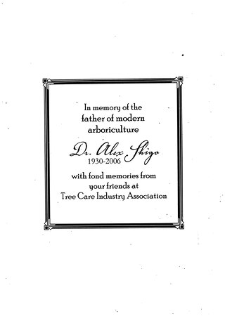 Dr Alex Shigo Memorial Book