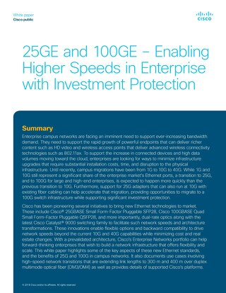 25GE and 100GE--Enabling Higher Speeds in Enterprise with Investment Protection