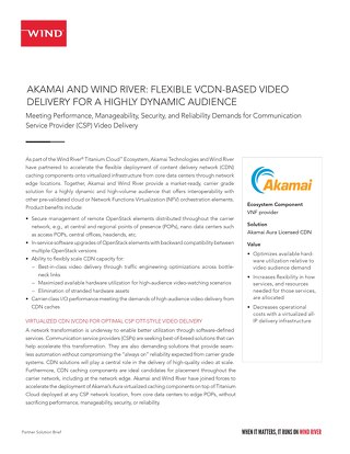 AKAMAI AND WIND RIVER: FLEXIBLE VCDN-BASED VIDEO DELIVERY FOR A HIGHLY DYNAMIC AUDIENCE