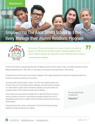 The Alice Smith School and eTapestry