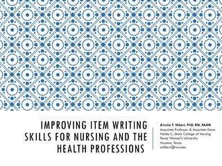 Improving Item Writing Skills for Nursing and the Health Professions