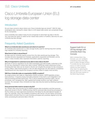 Cisco Umbrella European Union (EU) Log Storage Data Center