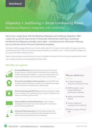 Datasheet: eTapestry & JustGiving Integration