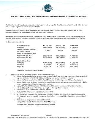 [Spec] LabGard HD ES NU-581E Class II, Type A2 Biosafety Cabinet (230V)