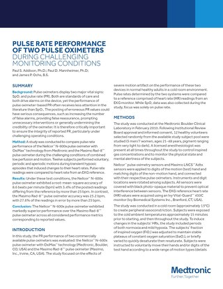 White Paper: Pulse Rate Performance of Two Pulse Oximeters During Challenging Monitoring Conditions [Read More]