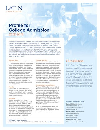 Latin School Profile for College Admission 2018