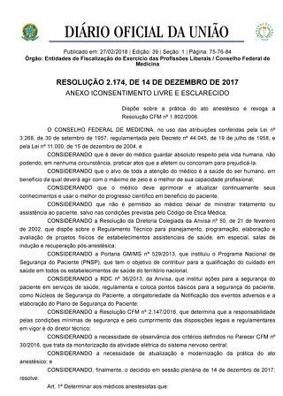 RESOLUCAO 2174 DEZEMBRO 2017 - DIARIO OFICIAL DA UNIAO