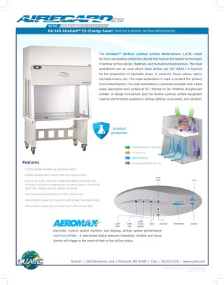 [Flyer] AireGard NU-140 Vertical Laminar Airflow Workstation