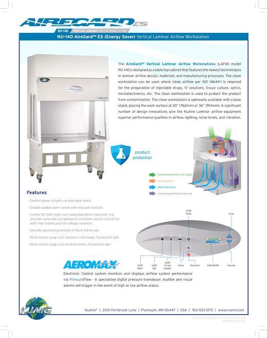 [Flyer] AireGard NU-140 Vertical Laminar Airflow Workstation