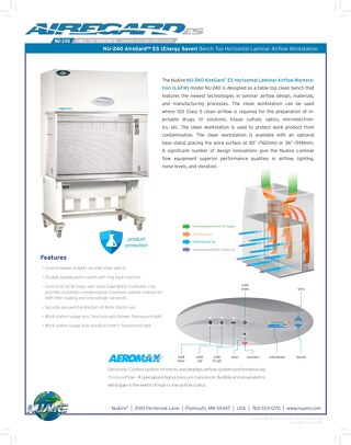 [Flyer] AireGard NU-240 Bench Top Style Horizontal Laminar Airflow Workstation
