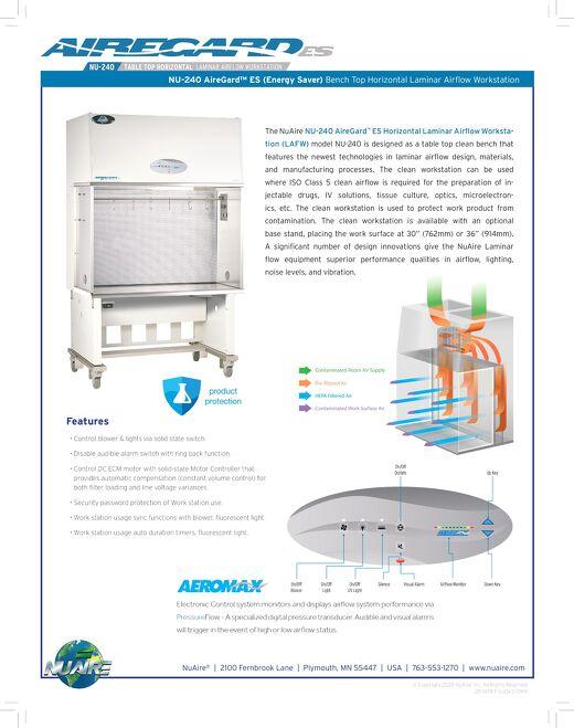 [Flyer] AireGard NU-240 Bench Top Style Horizontal Laminar Airflow Workstation