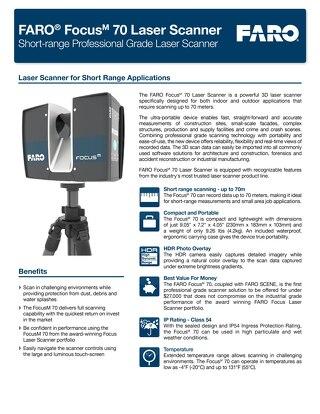 [TECHSHEET] FARO Focus M 70 Laser Scanner