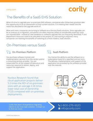 The Benefits of a SaaS EHSQ Solution