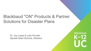 "Blackbaud ""ON"" Products and Partner Solutions for Disaster Plans"