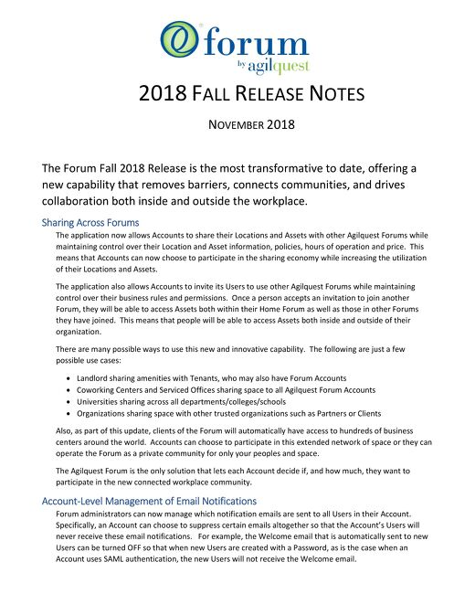2018 Fall Release Notes