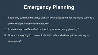 Emergency Planning Workshop