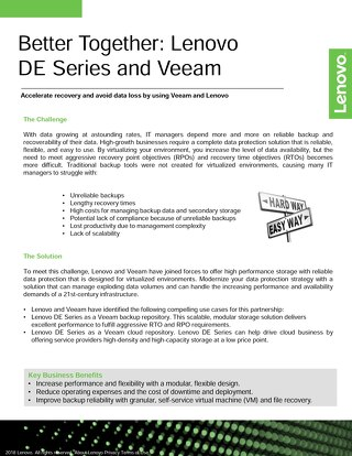 Better Together: Lenovo DE Series and Veeam