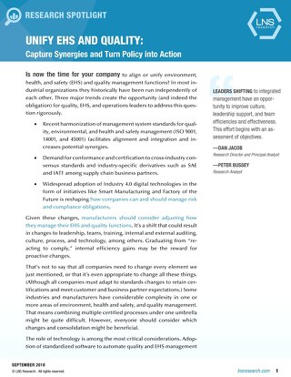 Unify EHS and Quality: Capture Synergies and Turn Policy Into Action